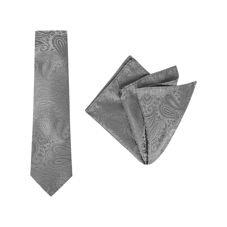 TIE & POCKET SQUARE, PAISLEY, CHAR