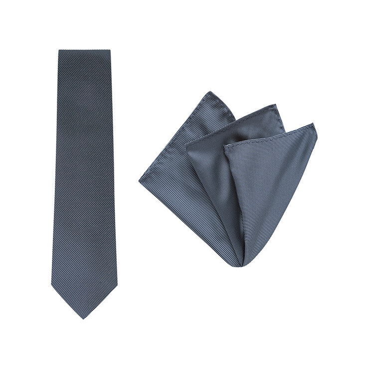 TIE & POCKET SQUARE, PINSTRIPE, NAVY