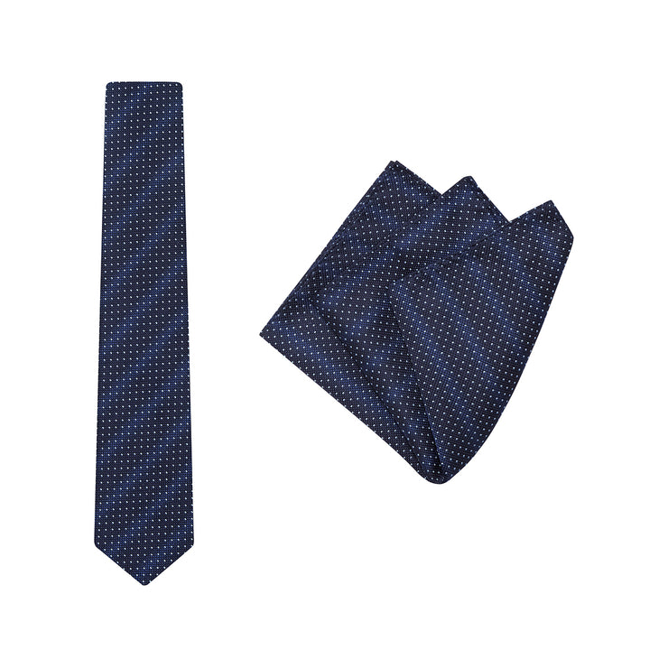 TIE & POCKET SQUARE, SPECKLED, SKY