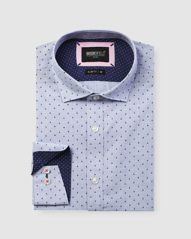 BROOKSFIELD LUXE FLOWER PRINT SLUB SHIRT