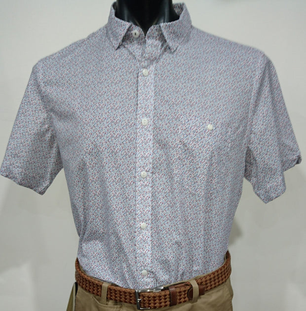 BROOKSFIELD BLUE MULTI DEAN S/S PRINTED SHIRT