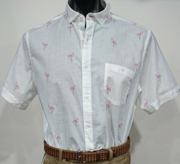 BROOKSFIELD CASUAL FLAMINGO PRINT S/S SHIRT