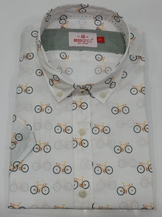 peter-webbers-menswear - CASUAL BICYCLE PRINT S/S SHIRT - CLOTHING