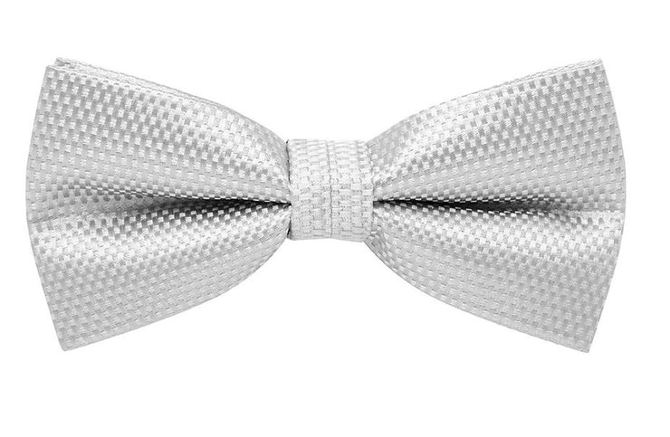 BOW TIE + POCKET SQUARE, CARBON, SILVER