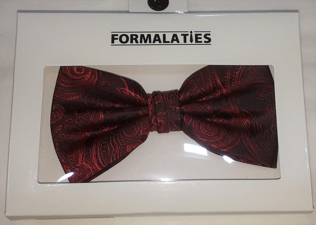 FORMAL PAISLEY BOW TIE SCARLET