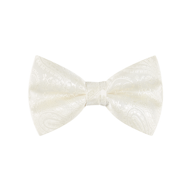 BOW TIE + POCKET SQUARE, PAISLEY, IVORY