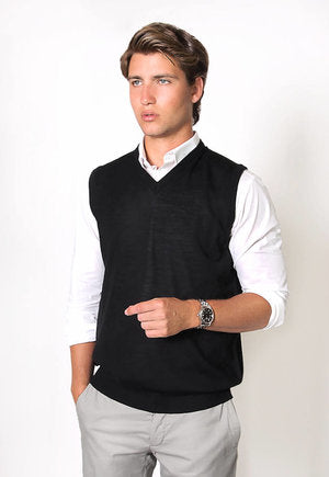 peter-webbers-menswear - MERINO WOOL VEST - BLACK - CLOTHING