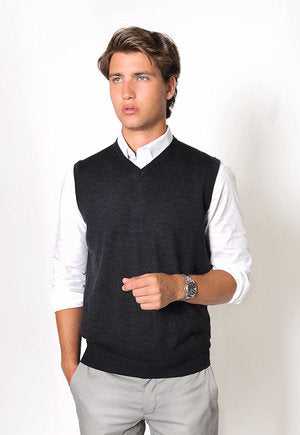 peter-webbers-menswear - MERINO WOOL VEST - CHARCOAL - CLOTHING