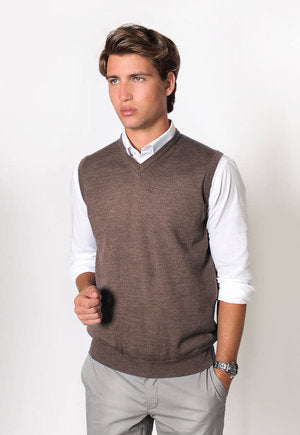 peter-webbers-menswear - MERINO WOOL VEST - DRY OAK - CLOTHING