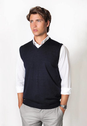 peter-webbers-menswear - MERINO WOOL VEST - MIDNIGHT BLUE - CLOTHING