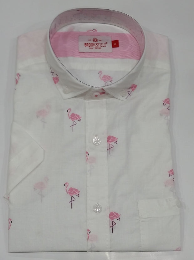 peter-webbers-menswear - CASUAL FLAMINGO PRINT S/S SHIRT - CLOTHING
