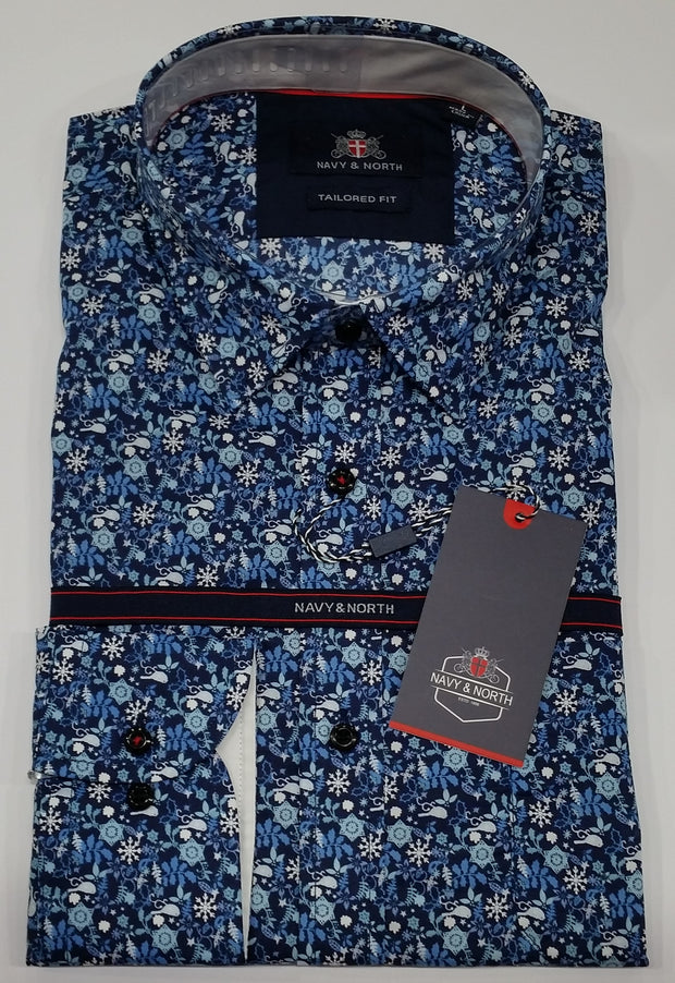 peter-webbers-menswear - NAVY AND NORTH MENS WOVEN SHIRT - CLOTHING