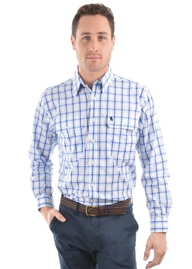 THOMAS COOK PAULS BLUE CHECK LS SHIRT