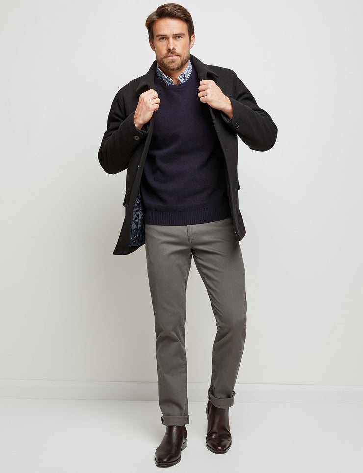 peter-webbers-menswear - BLACK VANCE MELTON JACKET - CLOTHING