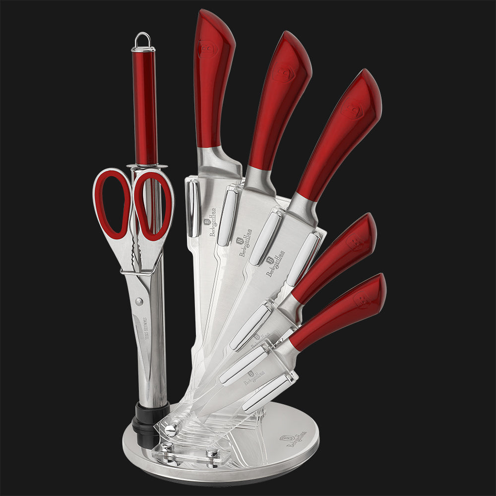 Häfele 8-pc Knife Set with Stand in Red Metallic CW-2043