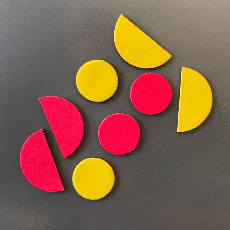 Let's Stick Together Magnets | Pink Yellow half moon-SMENA