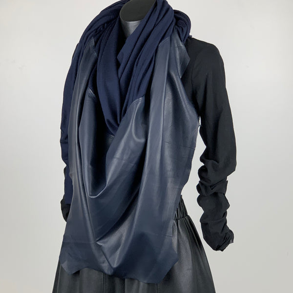 RAW Leather Merino Scarf | Navy