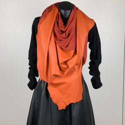 RAW Leather Merino Scarf | Terracotta Orange