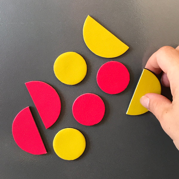 Let's Stick Together Magnets | Pink Yellow half moon