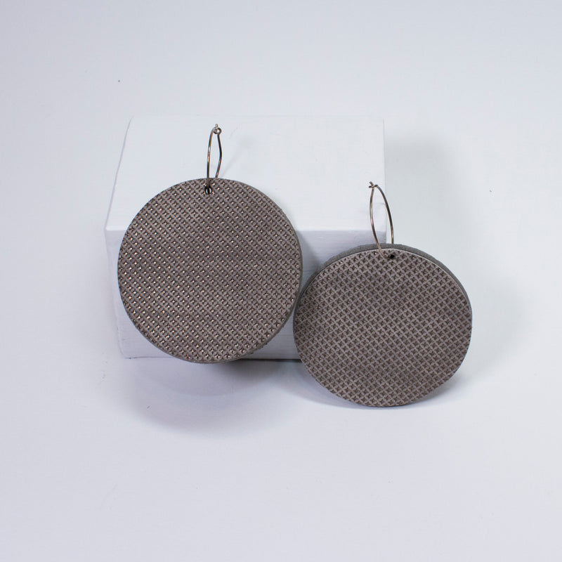 Geo Disc Earrings | Pewter