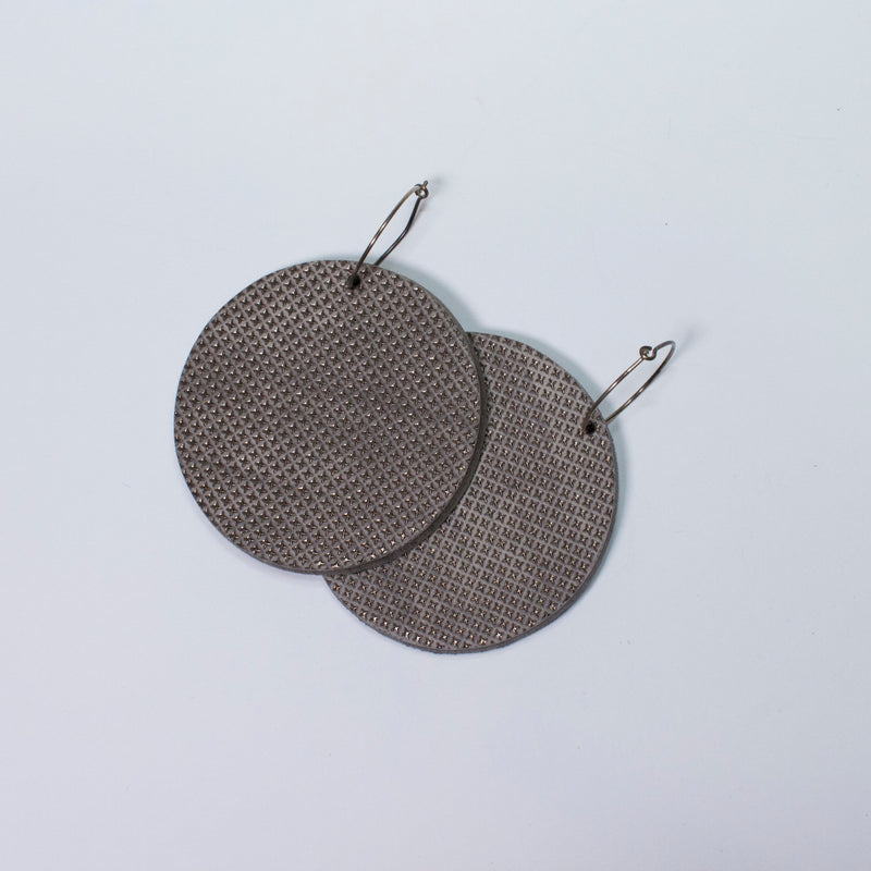 Geo Disc Earrings | Pewter-SMENA