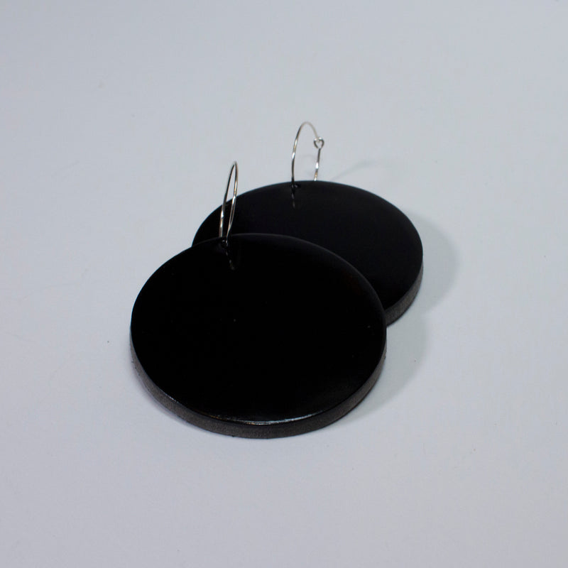 Geo Disc Earrings | Black-SMENA