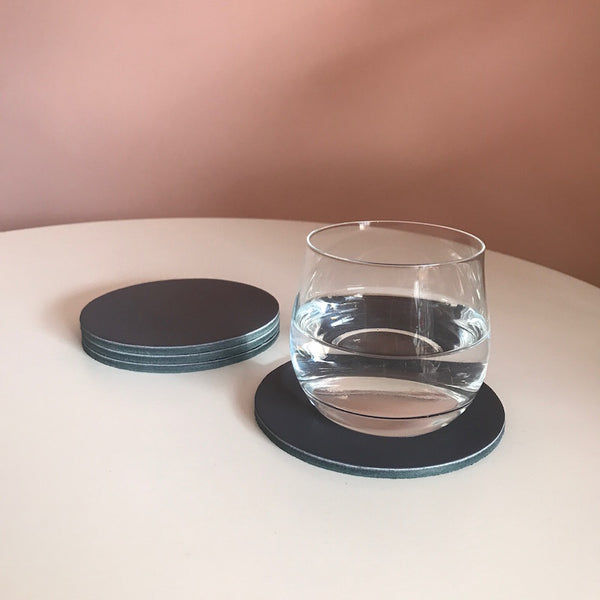 Let's Drink | Circular Coaster Set | Charcoal