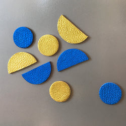 Let's Stick Together Magnets | Blue Gold Half Moon