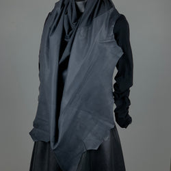 RAW Leather Merino Scarf | Charcoal