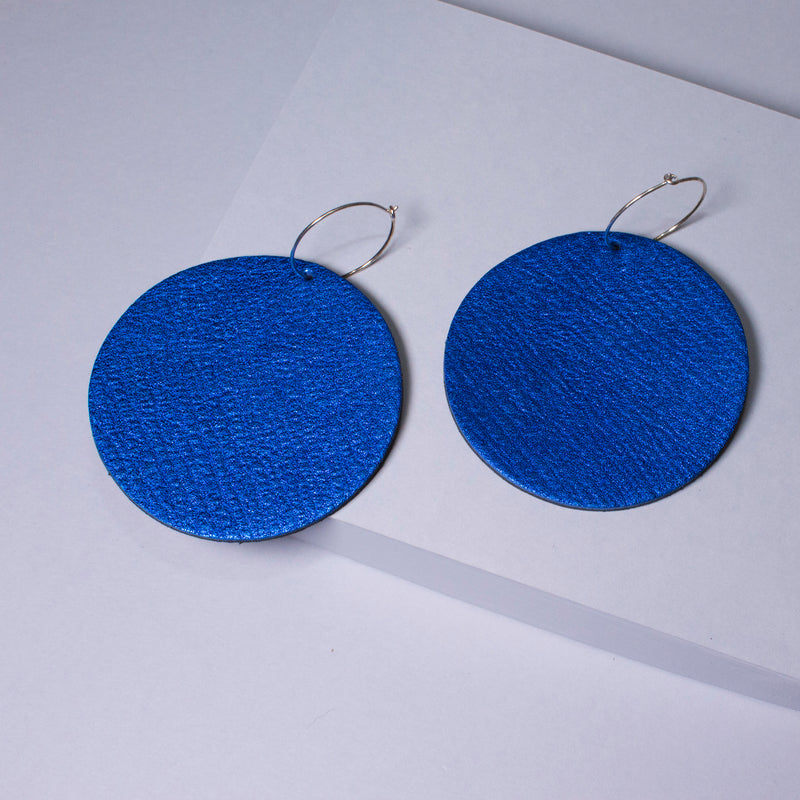 Full Moon Earrings Large | Metallic Electric Blue-SMENA
