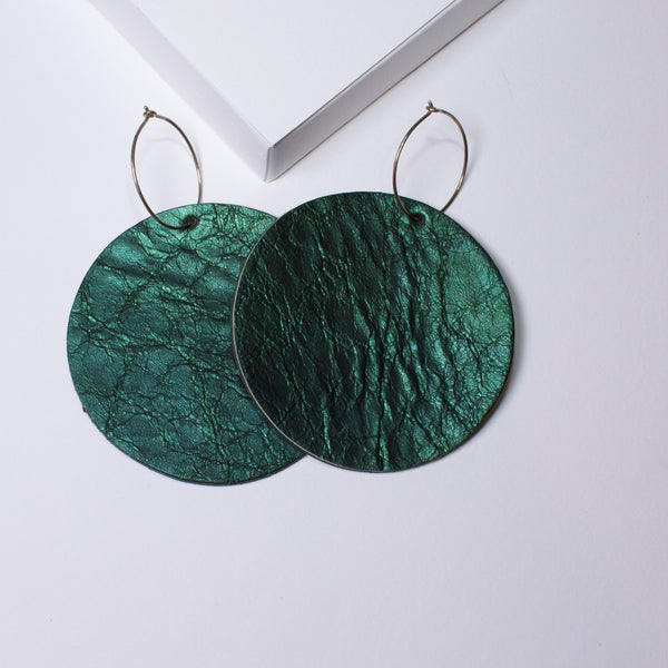 Full Moon Earrings Large | Metallic Forest