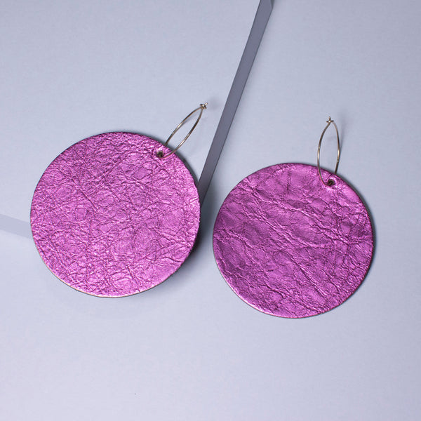 Full Moon Earrings Large | Metallic Magenta-SMENA