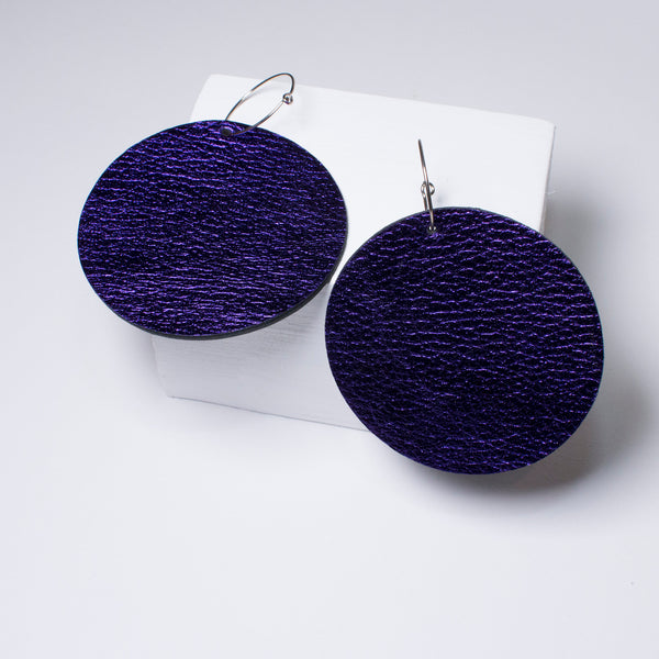 Full Moon Earrings Large | Metallic Purple-SMENA