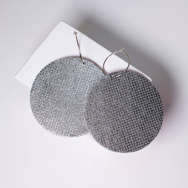 Full Moon Earrings Large | Metallic Perforated Silver-SMENA