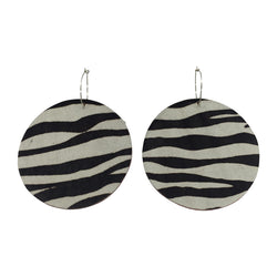 Full Moon Earrings Small | Zebra