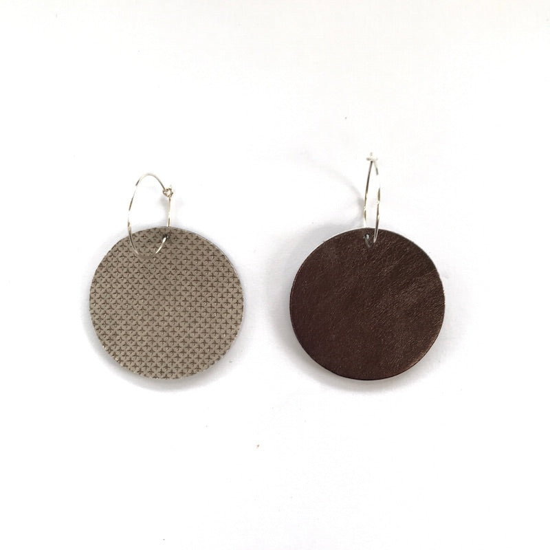 Full Moon Earrings Small | Embossed Pewter-SMENA