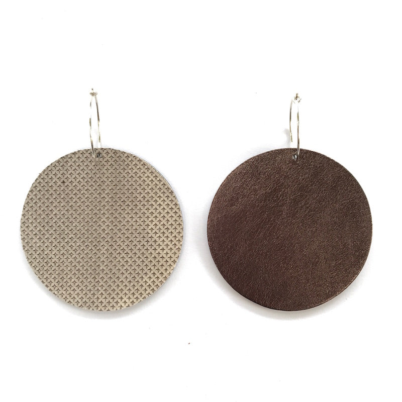 Full Moon Earrings Large | Embossed Pewter-SMENA