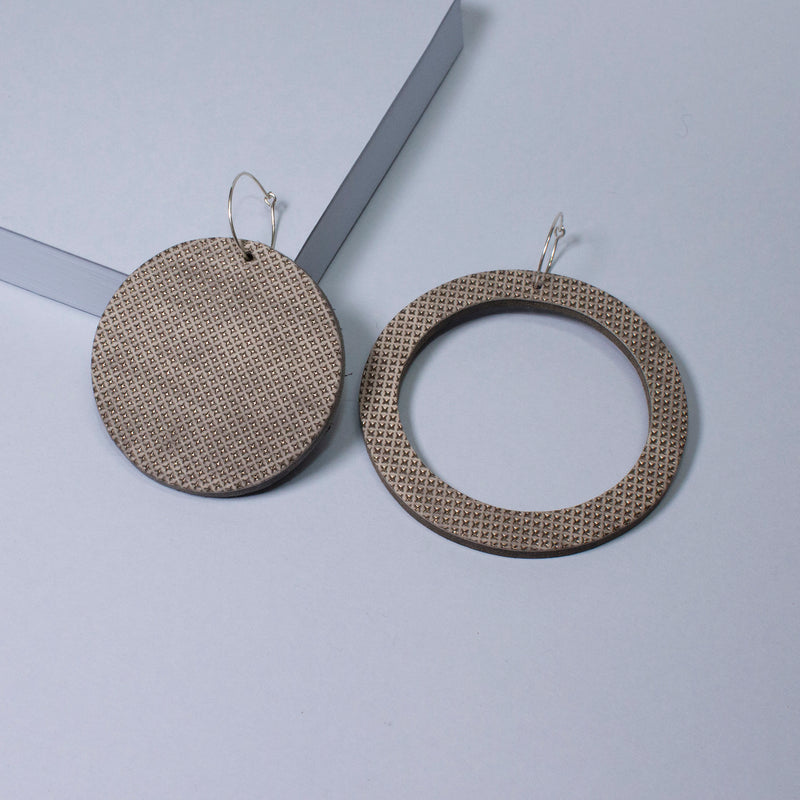 Geo Circle Earrings | Pewter