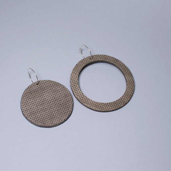 Geo Circle Earrings | Pewter-SMENA