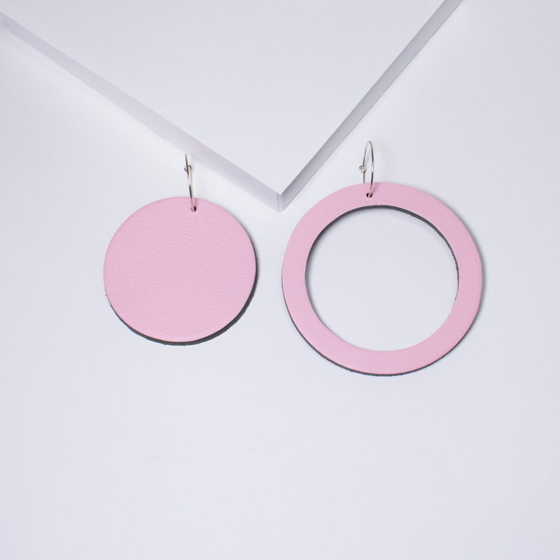 Geo Circle Earrings | Pale Pink-SMENA