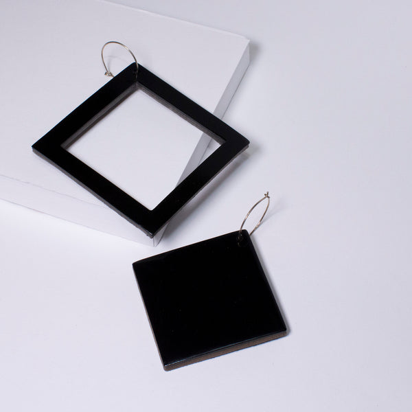 Geo Square Earrings | Black-SMENA