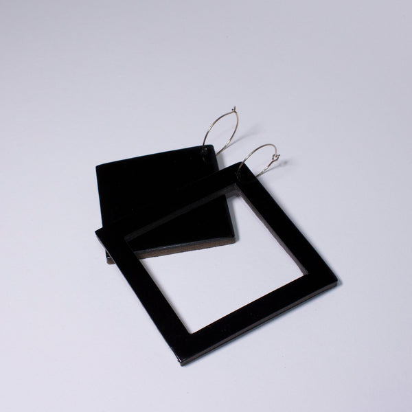 Geo Square Earrings | Black