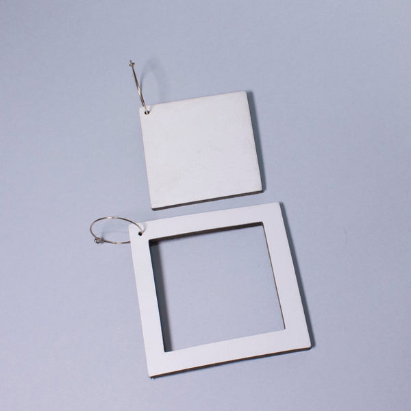 Geo Square Earrings | White-SMENA