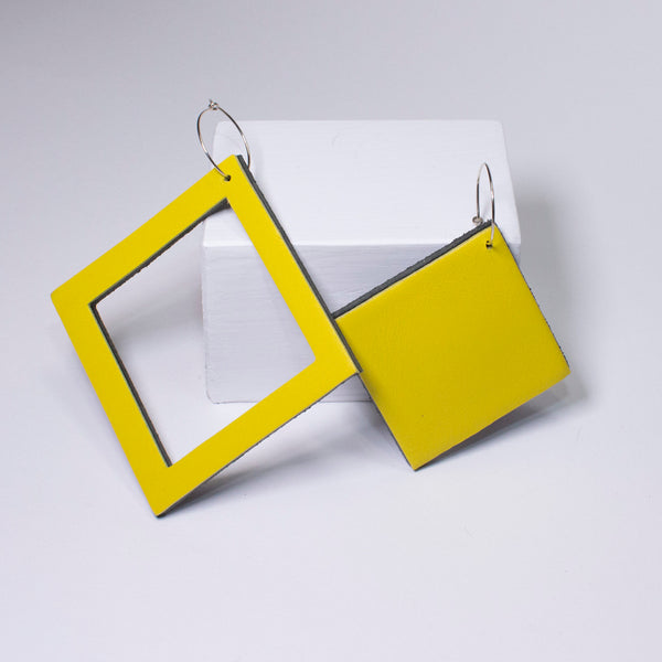 Geo Square Earrings | Yellow-SMENA