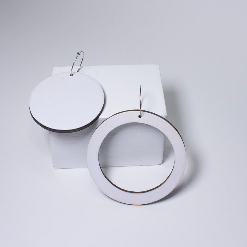 Geo Circle Earrings | White-SMENA