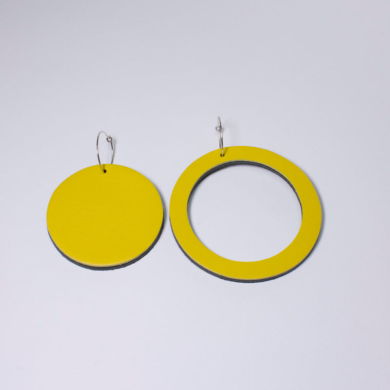 Geo Circle Earrings | Yellow-SMENA