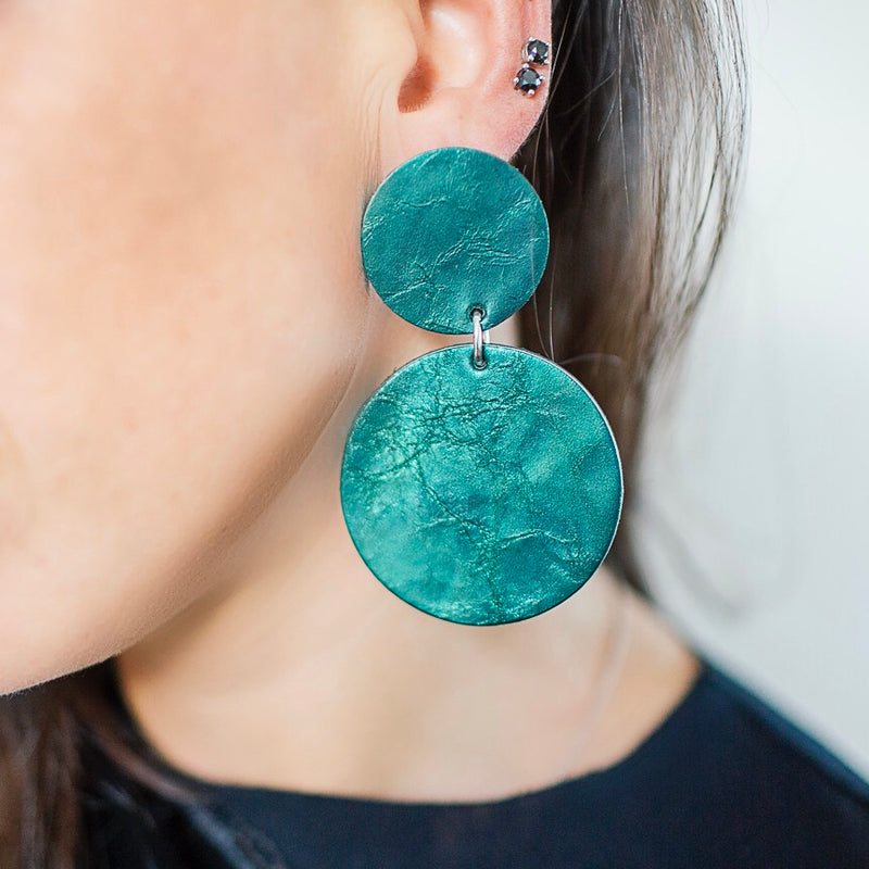 Aria Earrings | Metallic Electric Blue-SMENA