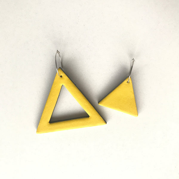 Geo Mini Triangle Earrings | Yellow-SMENA