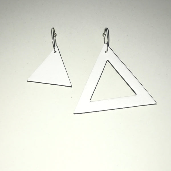Geo Mini Triangle Earrings | White-SMENA