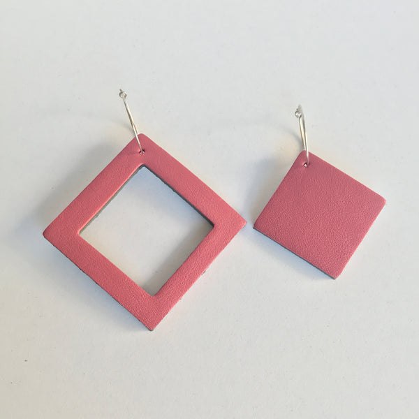 Geo Mini Square Earrings | Dusty Pink